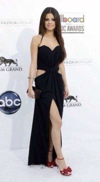 selena gomez selena dress prom dress little black dress long dress long black dress
