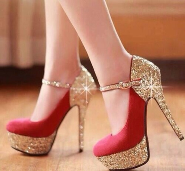 shoes heels red gold hugh heels sparkle glitter red and gold with glitterr sparkly heels belt red belt red high heels sparkle gold shoes cute fancy bedazzled stilettos classy strappy heels ankle strap heels red heels glitter shoes