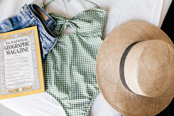 damsel in dior blogger dress shoes hat swimwear one piece swimsuit gingham swimsuit summer hat