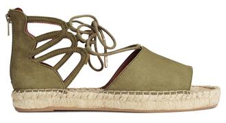 shoes olive green cut out shoes espadrilles