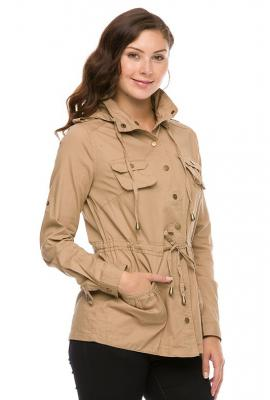 Street trends military utility jacket in khaki