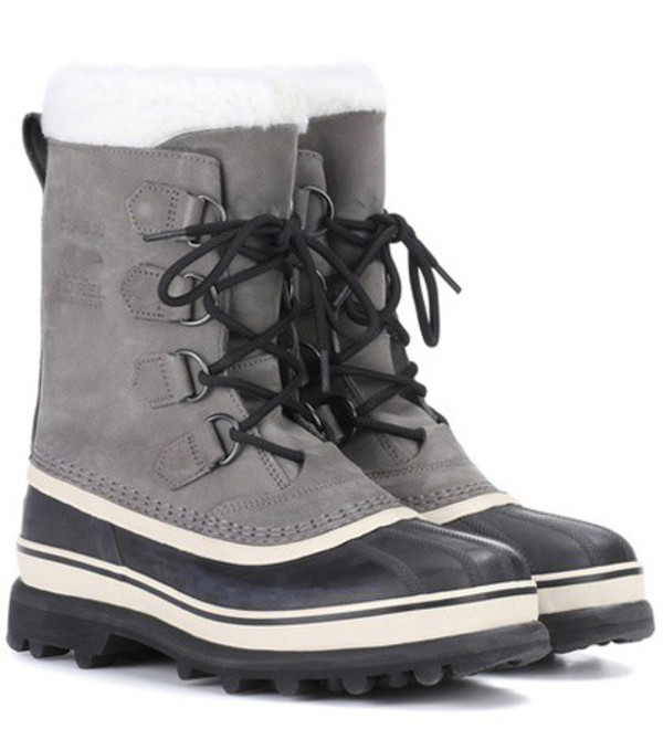 Sorel Caribou® leather and rubber boots in grey
