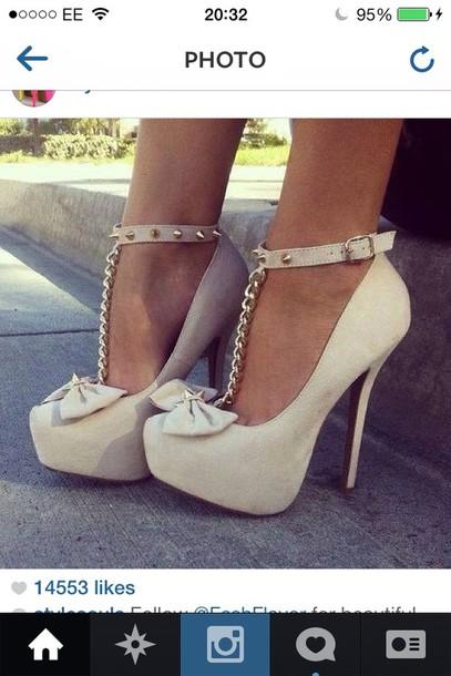 d2003cd1478 shoes nude pumps spikes chain fashion high heels pumps nude ribbon gold  chain cute high heels