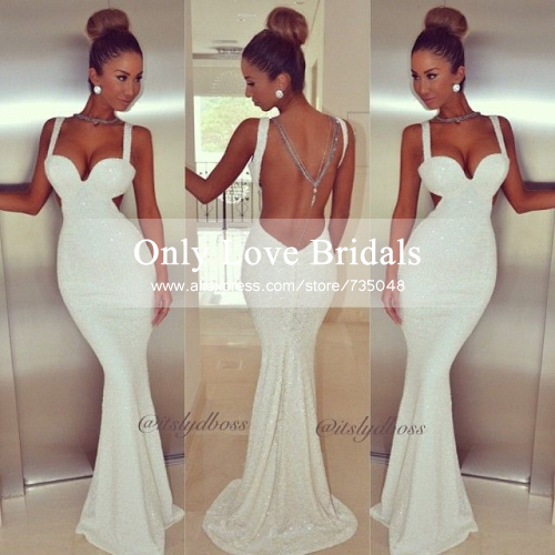 Cheap Sexy Lined Mermaid White Sequins Open Back Prom Long Summer dress Party Evening Elegant 2014 vestidos de fiesta-in Evening Dresses from Apparel & Accessories on Aliexpress.com | Alibaba Group