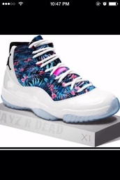 shoes,customized,high top sneakers,jordans,retro jordans,hawaiian,air jordan,sneakers,tropical,floral,summer,23 Jordan,shoes air jordan,white blue pink hawaiian