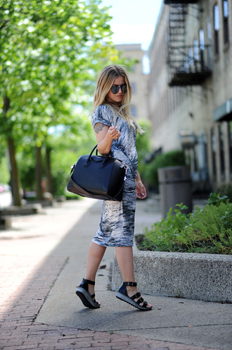 blonde bedhead blogger dress shoes bag jewels handbag flats sandals flat sandals midi dress summer outfits givenchy bag