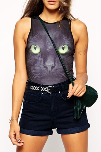 top cats bodysuit trendy black cool black cat print sleeveless bodysuit fashion style grunge