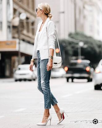 jacket tumblr blazer white blazer denim jeans pumps pointed toe pumps high heel pumps top white top bag shoes
