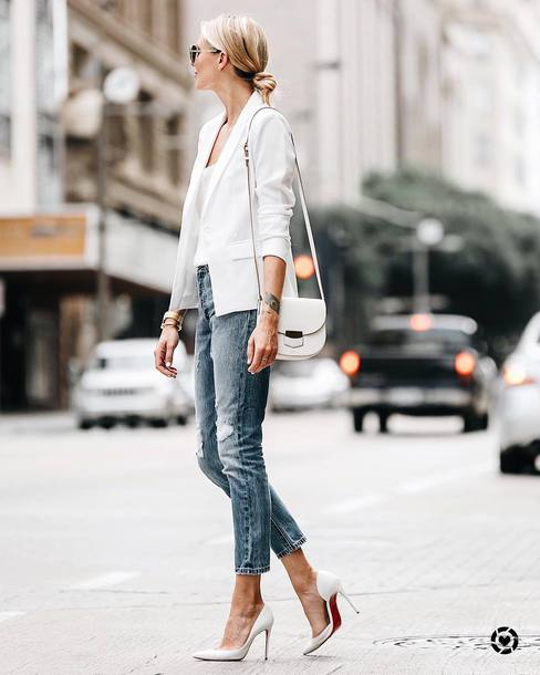 jacket tumblr blazer white blazer denim jeans pumps pointed toe pumps high heel pumps top white top bag shoes work outfits office outfits