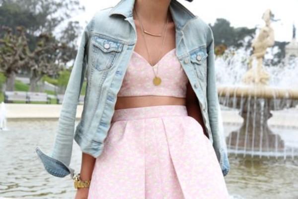 skirt crop top bralette skater skirt denim jacket jacket jewels top