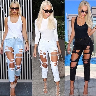jeans ripped jeans holes black distressed denim