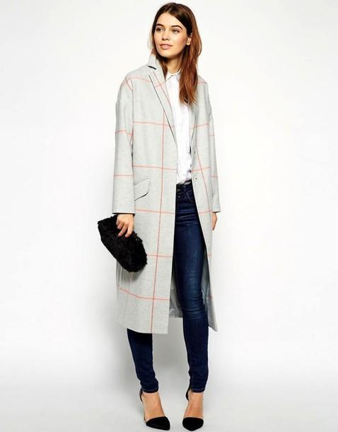 le fashion blogger grey coat checkered