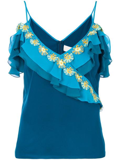 Peter Pilotto - ruffled top - women - Silk/Polyester - 12, Blue, Silk/Polyester