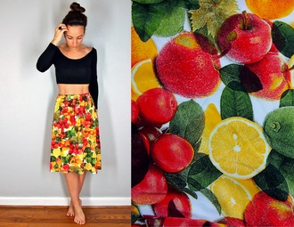 skirt bright tropical summer fruits fruit salad fruit salad skirt yellow red green cheery midi midi skirt short petite skinny island style beach citrus