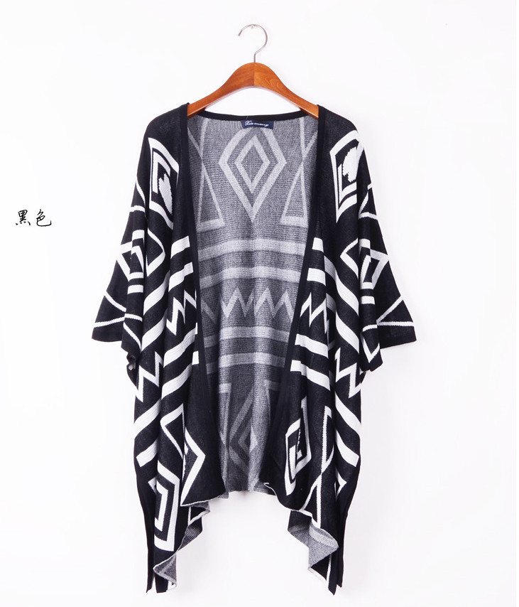 High QualityI Europe and the United States long aztec sweater coat of cultivate one's morality show thin shawl geometry cardigan-in Pullovers from Apparel & Accessories on Aliexpress.com