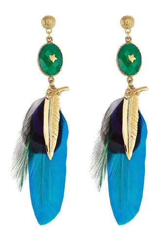 feathers earrings gold blue jewels