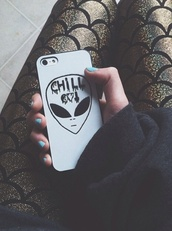 phone cover,chill out,alien,tumblr,instagram,white,black,hipster,skater,urban,grunge,band,mermaid,fish scales,sea creatures,shiny