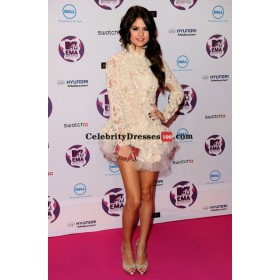 Selena Gomez Short White Marchesa Lace Mini Cocktail Celebrity Dress Replicas MTV EMAs 2011