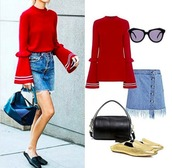 sweater,IFCHIC,ruffle,red,sunglasses,spring skirt,denim skirt,flat sandals,outfit,outfit idea,skirt,bag,shoes,bell sleeves,bell sleeve sweater,loafers