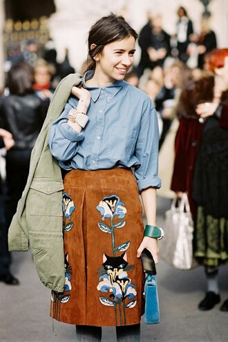 skirt brown skirt embroidered skirt midi skirt embroidered suede skirt high waisted skirt shirt blue shirt jacket army green jacket bag blue bag velvet bag streetstyle pocket jacket