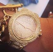jewels,michael kors,watch,glitter,gold,micheal kors watch gold,diamonds,armcandy,chain,gold chain,diamonds watch