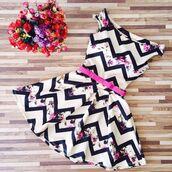 dress,cocktail dress,zigzag pattern,rose,roses,floral,floral dress,belt,waist belt,flared skater skirt