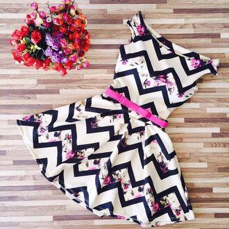 dress cocktail dress zigzag pattern rose roses floral floral dress belt waist belt flared skater skirt