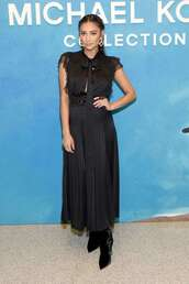 dress,shay mitchell,all black everything,maxi dress,hairstyles,fashion week