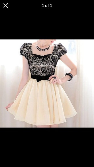 dress lace black white formal bow
