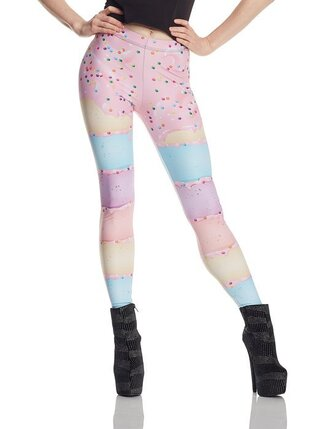 leggings pastel pink blue yellow dots colorful