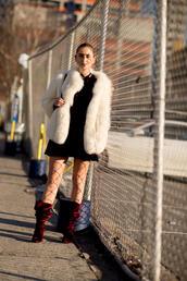 shoes,nyfw 2017,fashion week 2017,fashion week,streetstyle,boots,red boots,velvet,velvet shoes,velvet boots,dress,mini dress,velvet dress,burgundy,burgundy dress,jacket,white jacket,white fur jacket,fur jacket