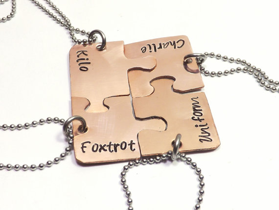Set of 4 Personalized Copper Puzzle Piece by MissAshleyJewelry