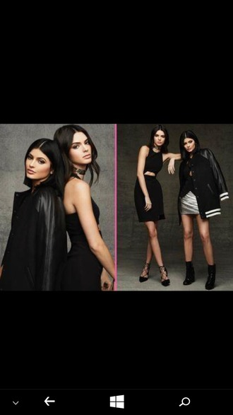 jacket black crop top black skirt choker necklace all black everything kendall and kylie jenner kendall jenner kylie jenner baseball jacket black and white black top black boots
