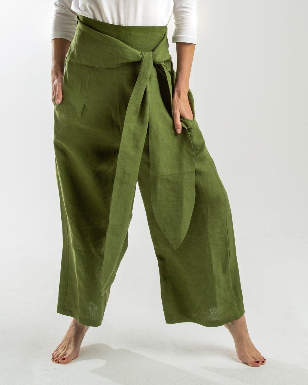 linen wide leg pant with tie detail