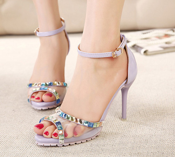 shoes high heels purple summer apricot sandals ankle strap open toe