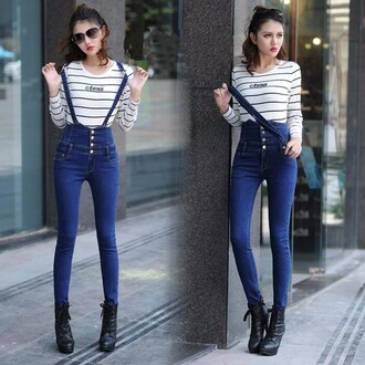 jumpsuit denim button overalls tight blue skinny high waisted suspender jeans