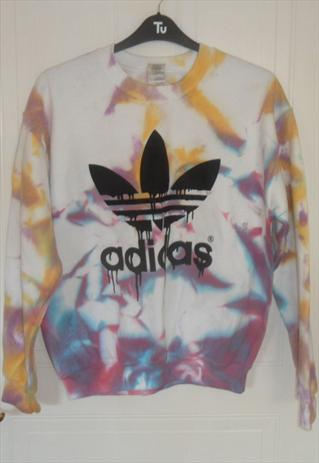 unique diy tie dye acid wash adidas sweatshirt  size M | mysticclothing | ASOS Marketplace