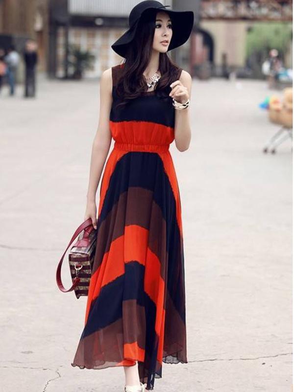 A-line Scoop Neck Ankle Length Chiffon Maxi Dresses : KissChic.com
