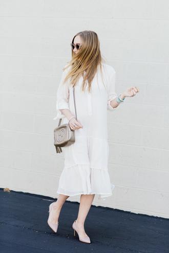 eat sleep wear blogger jewels dress shoes bag white dress midi dress shirt dress gucci bag summer outfits shoulder bag pumps