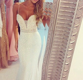 white dress,sequins,prom dress,wedding dress,wedding,maxi,long prom dress,long dress,sparkly dress,dress,debs dress,glitter dress,floor length dress,boobtube,white,sparkle,prom,debs,ball,blonde hair,long