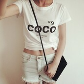 t-shirt,cc,coco chanel shirt,chanel,chanel inspired,nº9,hollywood,tumblr,blouse