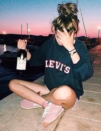sweater tumblr varsity red navy jumper hoodie