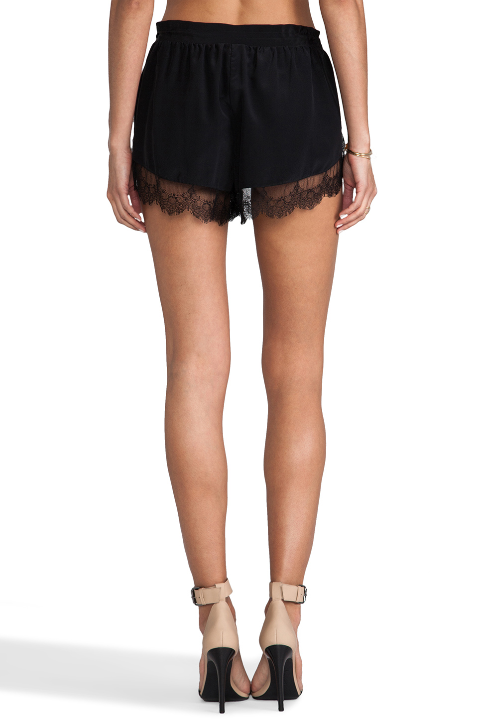Mason by Michelle Mason Lace Trim Shorts in Black | REVOLVE