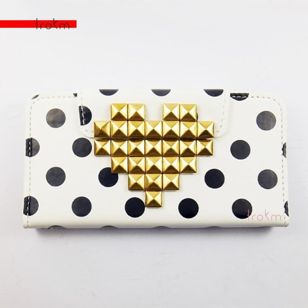 bag shoptrokm polka dots phone cover wallet phone case black and white iphone 5c studs gold heart