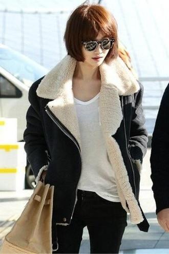 jacket black leather wool jacket