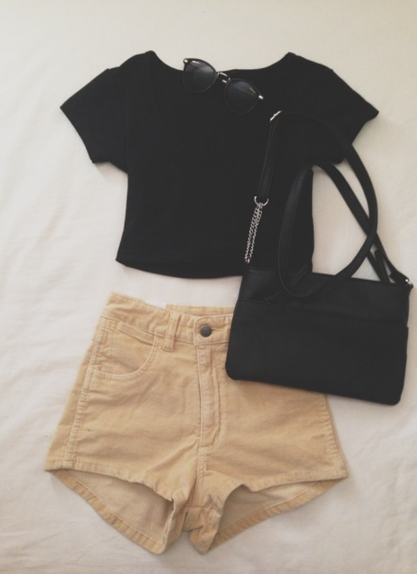 shorts bag black shirt cropped high waisted