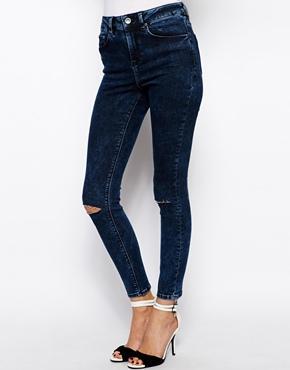 ASOS | ASOS - Ridley - Jeans ultra skinny alla caviglia a vita alta con lavaggio blu acido scuro e strappi alle ginocchia su ASOS