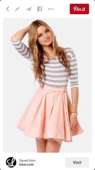 dress skater dress circle skirt striped dress bow dress
