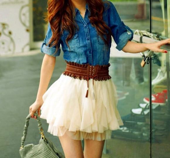 Blue jean shirt,brown belt & white skirts