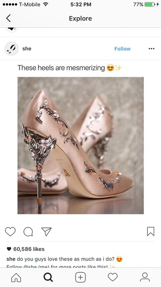 shoes high heel pumps heels pumps metallic shoes metal high heels rose rose gold